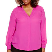 Worthington® Long-Sleeve Button-Front Blouse - Plus