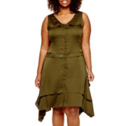 Worthington® Sleeveless Military Dress with Flounce-Hem - Plus