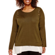 Worthington® Long-Sleeve Grommet-Embellished Layered Sweater - Plus