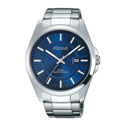 Pulsar® Business Collection Mens Blue Dial Stainless Steel Watch