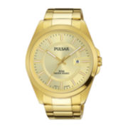 Pulsar® Business Collection Mens Gold-Tone Stainless Steel Champagne Dial Watch