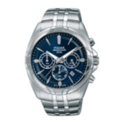 Pulsar® Easy Style Mens Stainless Steel Blue Chronograph Watch