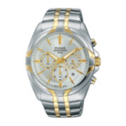 Pulsar® Easy Style Mens Two-Tone Stainless Steel Chronograph Watch