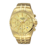 Pulsar® Easy Style Mens Gold-Tone Chronograph Watch