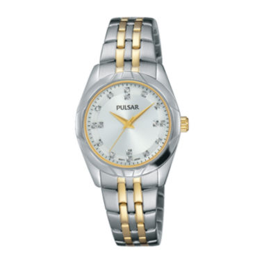 jcpenney.com | Pulsar® Ladies Night Out 2 Womens Crystal Accent Two-Tone Bracelet Watch