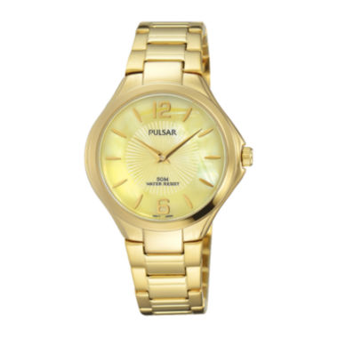 jcpenney.com | Pulsar® Ladies Night Out Womens Gold-Tone Yellow Dial Bracelet Watch