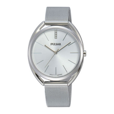 jcpenney.com | Pulsar® Womens Crystal Accent Stainless Steel Bracelet Watch