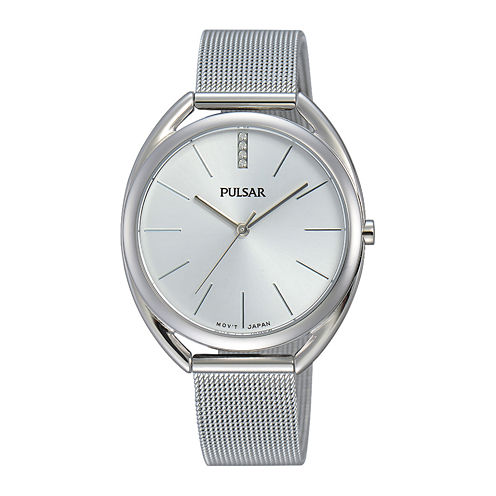Pulsar® Womens Crystal Accent Stainless Steel Bracelet Watch
