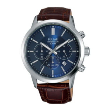 jcpenney.com | Pulsar® Mens Brown Leather Strap Blue Dial Chronograph Watch