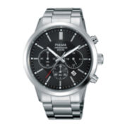 Pulsar® Mens Stainless Steel Black Dial Chronograph Watch