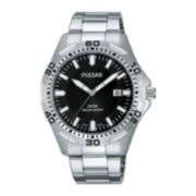 Pulsar® Mens Stainless Steel Black Watch