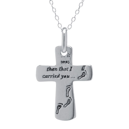 Silver Treasures™ Sterling Silver Footprints Cross Pendant Necklace