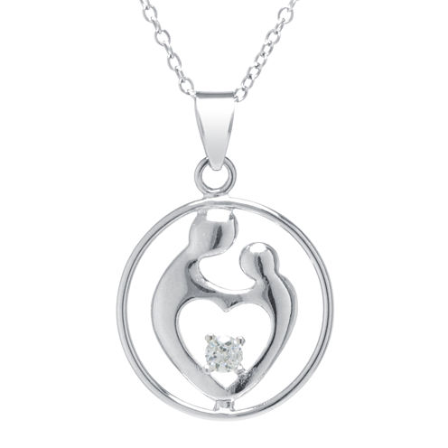 Silver Treasures™ Cubic Zirconia Sterling Silver Mother's Pendant Necklace
