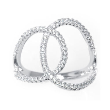 jcpenney.com | Silver Treasures™ Cubic Zirconia Sterling Silver Overlapping Circles Ring