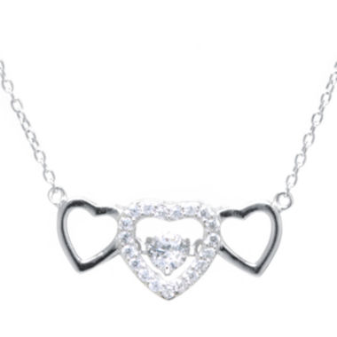 jcpenney.com | Silver Treasures™ Cubic Zirconia Sterling Silver Triple Heart Pendant Necklace