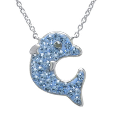 jcpenney.com | Blue Crystal Silver-Plated Dolphin Pendant Necklace