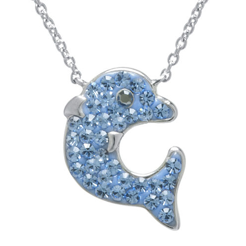 Blue Crystal Silver-Plated Dolphin Pendant Necklace