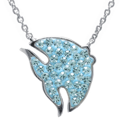 Blue Crystal Silver-Plated Fish Pendant Necklace