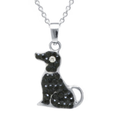 jcpenney.com | Sterling Silver-Plated Brass Black Crystal Dog Pendant Necklace
