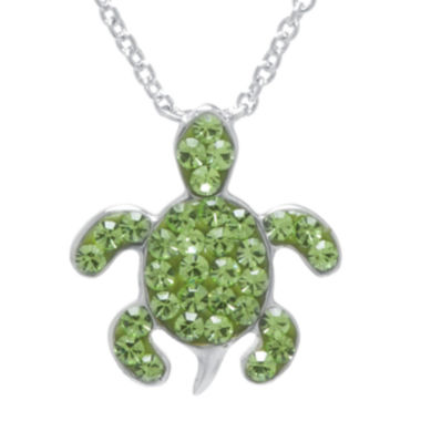 jcpenney.com | Silver Plated Green Crystal Turtle Pendant Necklace