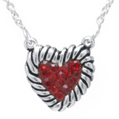 jcpenney.com | Sterling Silver-Plated Brass Red Crystal Heart Rope Border Pendant Necklace
