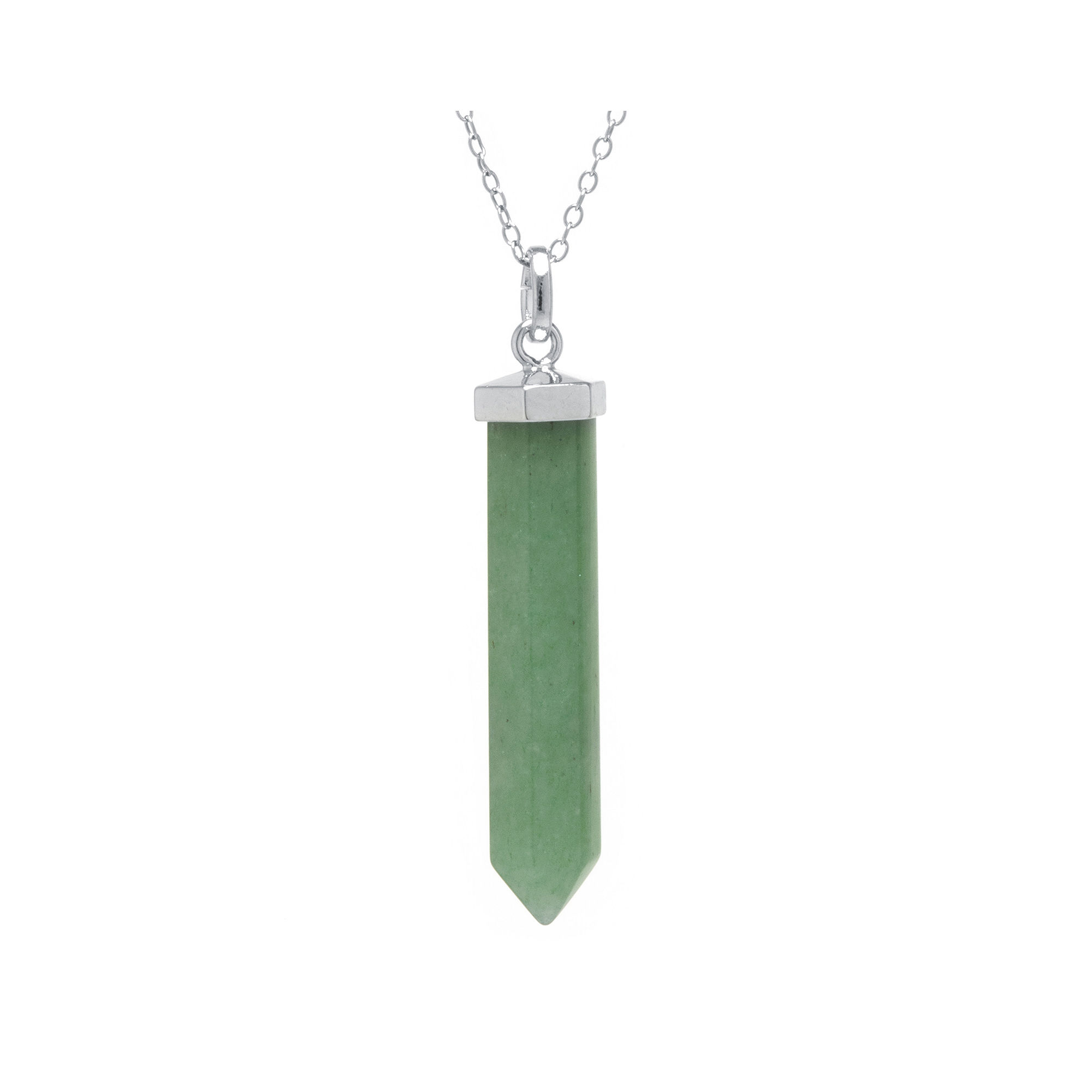Silver Reflections™ Green Quartzite Silver-Plated Pendant Necklace