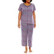 Earth Angels® Short-Sleeve Top and Capris Pajama Set - Plus