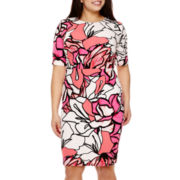 Bisou Bisou® Elbow-Sleeve Floral Print Sheath Dress - Plus