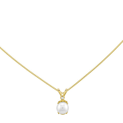 Cultured Freshwater Pearl and Diamond-Accent 14K Yellow Gold Pendant Necklace