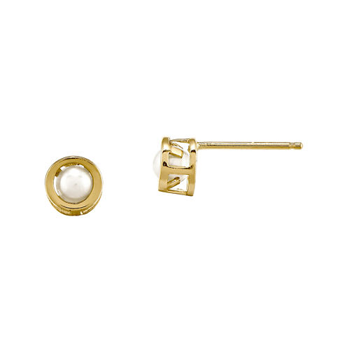 4mm Cultured Freshwater Pearl Bezel 14K Yellow Gold Stud Earrings