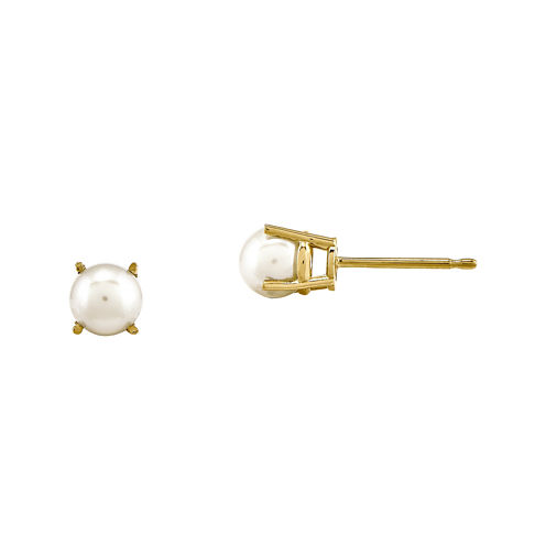 Cultured Freshwater Pearl 14K Yellow Gold Stud Earrings