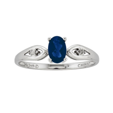 jcpenney.com | Genuine Blue Sapphire and Diamond-Accent 14K White Gold Ring
