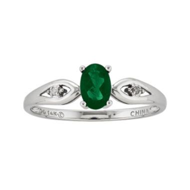 jcpenney.com | Genuine Emerald and Diamond-Accent 14K White Gold Ring