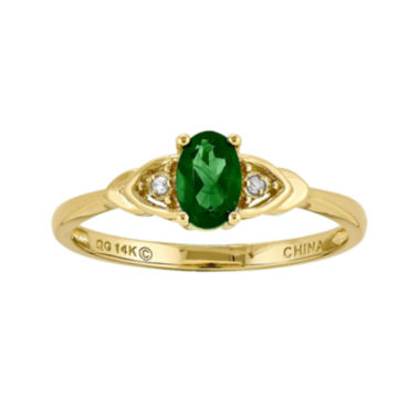 jcpenney.com | Genuine Emerald and Diamond-Accent 14K Yellow Gold Ring