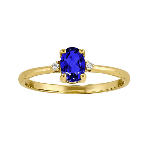 Genuine Blue Sapphire Diamond-Accent 14K Yellow Gold Ring
