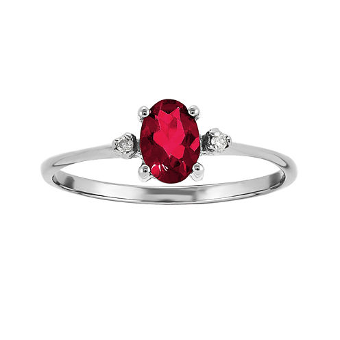 Oval Lab Create Ruby and Diamond-Accent Birthstone Ring in 14K White Gold