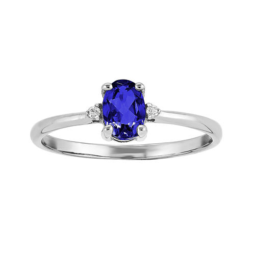Oval Genuine Blue Sapphire and Diamond-Accent 14K White Gold Birthstone Ring