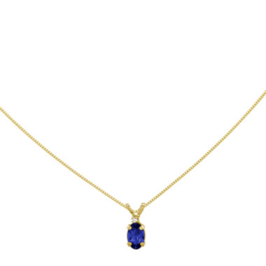 jcpenney.com | Genuine Blue Sapphire Diamond-Accent 14K Yellow Gold Pendant Necklace