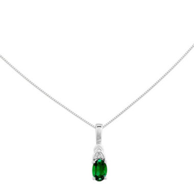 jcpenney.com | Genuine Emerald and Diamond-Accent 14K White Gold Pendant Necklace