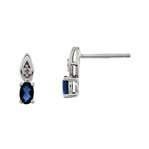 Genuine Blue Sapphire and Diamond-Accent 14K White Gold Earrings