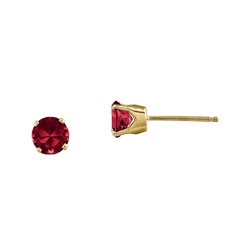5mm Round Lead Glass-Filled Ruby 14K Yellow Gold Earrings
