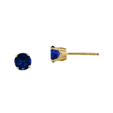 jcpenney.com | 5mm Round Genuine Blue Sapphire 14K Yellow Gold Earrings