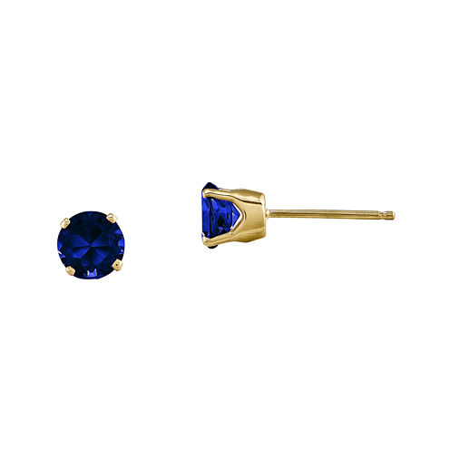 5mm Round Genuine Blue Sapphire 14K Yellow Gold Earrings