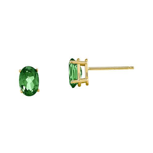 Genuine Emerald 14K Yellow Gold Stud Earrings