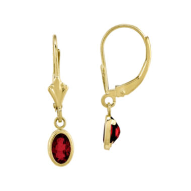 jcpenney.com | Lab-Created Ruby 14K Yellow Gold Drop Earrings