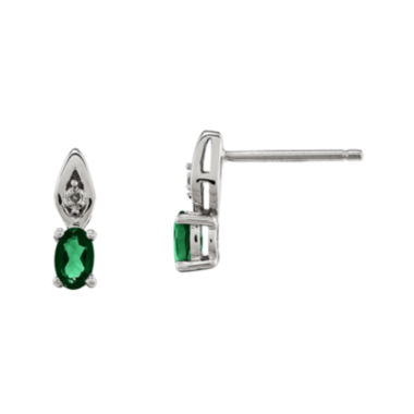 jcpenney.com | Genuine Emerald and Diamond-Accent 14K White Gold Earrings