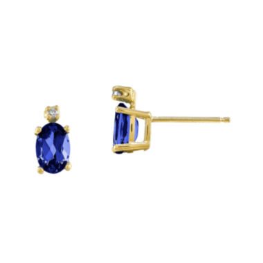 jcpenney.com | Genuine Blue Sapphire Diamond-Accent 14K Yellow Gold Earrings