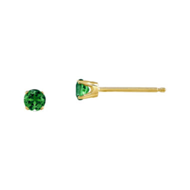 jcpenney.com | 3mm Round Genuine Emerald 14K Yellow Gold Earrings