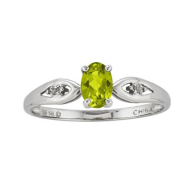 jcpenney.com | Genuine Peridot Diamond-Accent 14K White Gold Ring