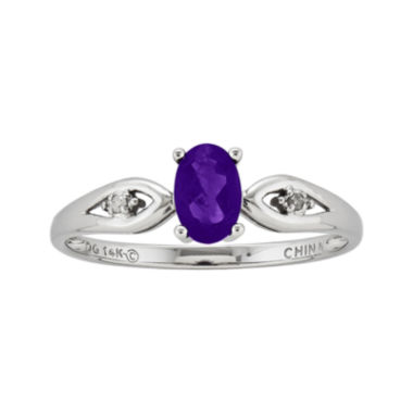 jcpenney.com | Genuine Purple Amethyst Diamond-Accent 14K White Gold Ring